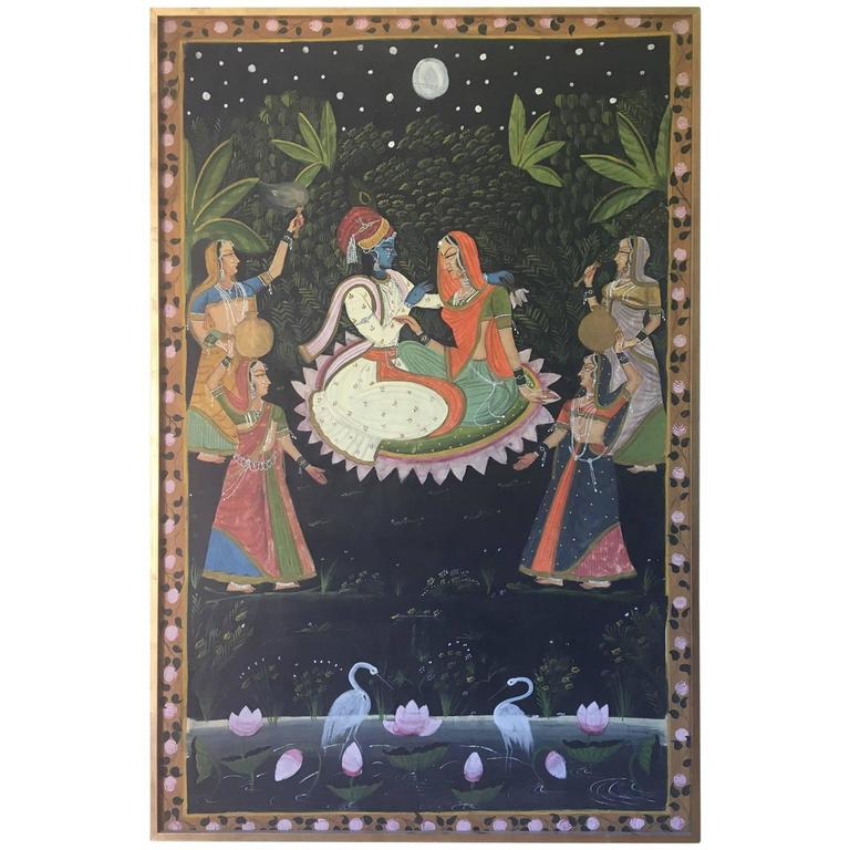 Large Scale Romantic Indian Painting, circa 1950
