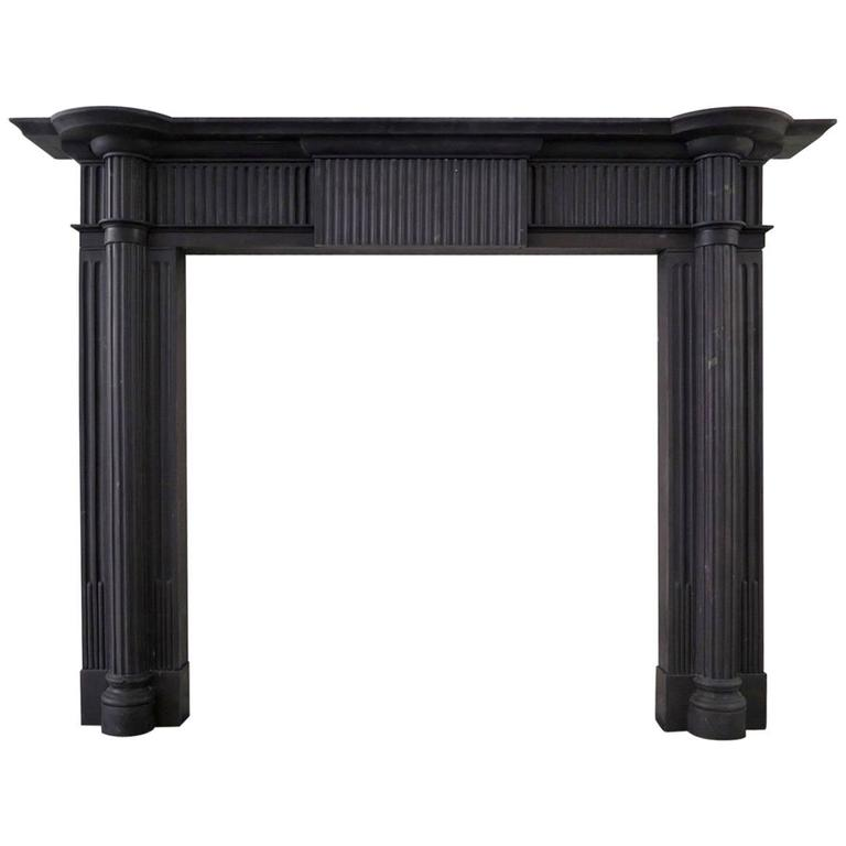 Irish 19th Century Palladian Style Welsh Slate Fireplace Mantle For Sale