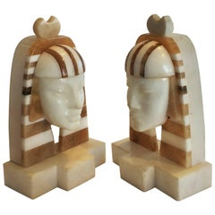 Pair of Art Deco Marble and Alabaster Egyptian Revival Bookends of the Sphinx