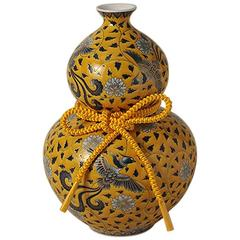 Japanese Yellow Gilded Hand-Painted Porcelain Vase by Master Artist