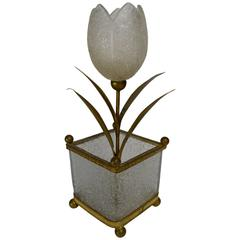 Decorative Glass Tulip in Glass Flower Pot