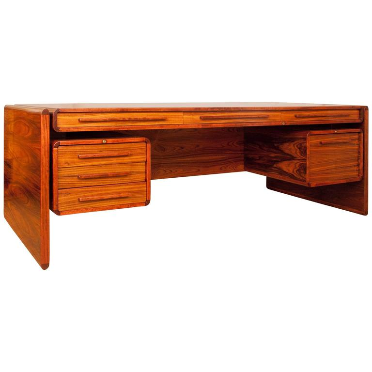 Awesome Large Mid-Century Rosewood Executive Desk Beautifully Crafted