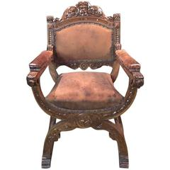 Original Old Scissors Armchair in Neo-Renaissance Style, circa 1880