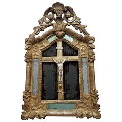 Early 18th Century French Mirror with Ivory Crucifix and Distressed Velvet
