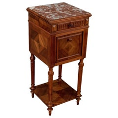 French Bedside Nightstand Pot Cupboard Fine Mahogany and Marble, circa 1900