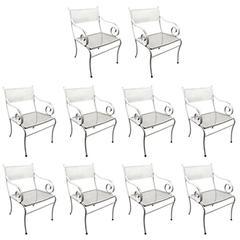 Set of Ten Woodard Scroll Armchairs Dining Height Patio Garden Furniture