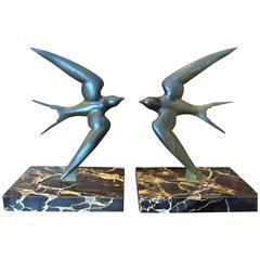 Original Art Deco Swallows Bronze Bookends by Georges Garreau, circa 1925