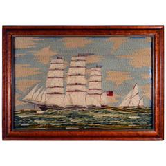 Sailor's Woolwork Woolie of the Tea Clipper, Ariel,  Signed C. Ames, circa 1880