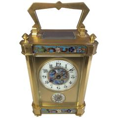 French Carriage Clock with Champlevé  Decoration, Gilt Brass Case, with Ala