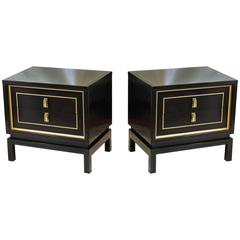 Pair of American of Martinsville Black and Gold Lacquered Nightstands