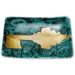 Fornasetti's Porcelain Tray with Malachite and Golden Key Decor