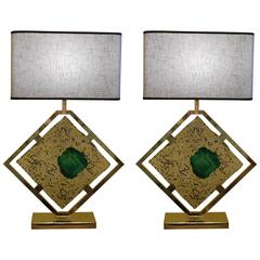 Late 20th Century Pair of Brass & Transparent/Green Murano Glass Table Lamps