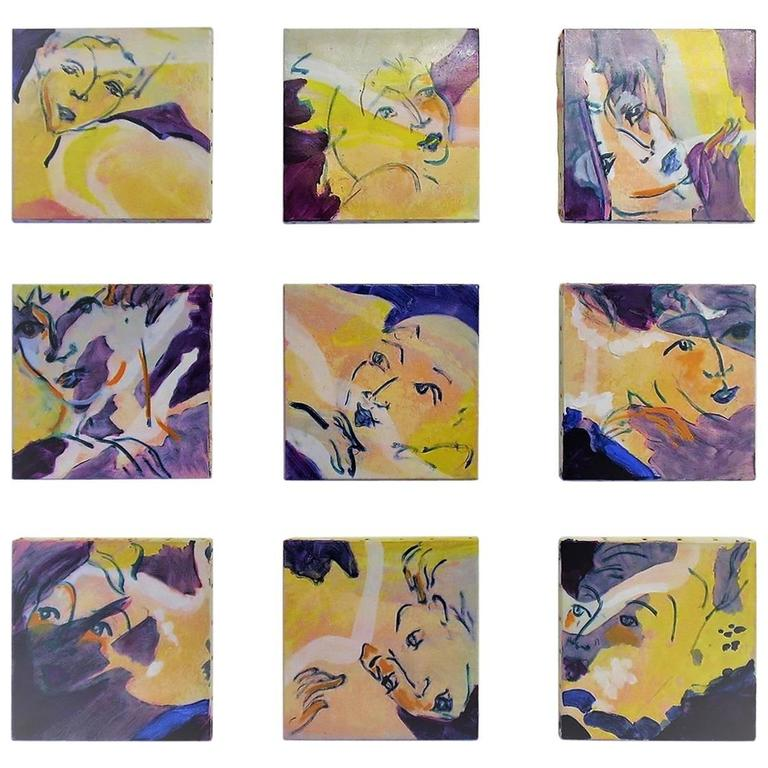 """Nine Oil Paintings on Canvas on the Theme of """"The Dancers"""" by E. Ballestra"""