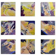 "Nine Oil Paintings on Canvas on the Theme of ""The Dancers"" by E. Ballestra"