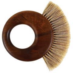 Carl Aubock Mid-Century Walnut Ring Clothes Brush, Austria, 1950s