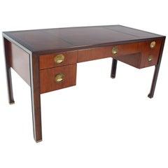 Teak Walnut Leather Top Executive Desk by Baker