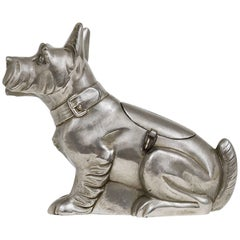 Art Deco Schnauzer Dog Money Box, Piggy Bank, Made of Tin, France, 1930s
