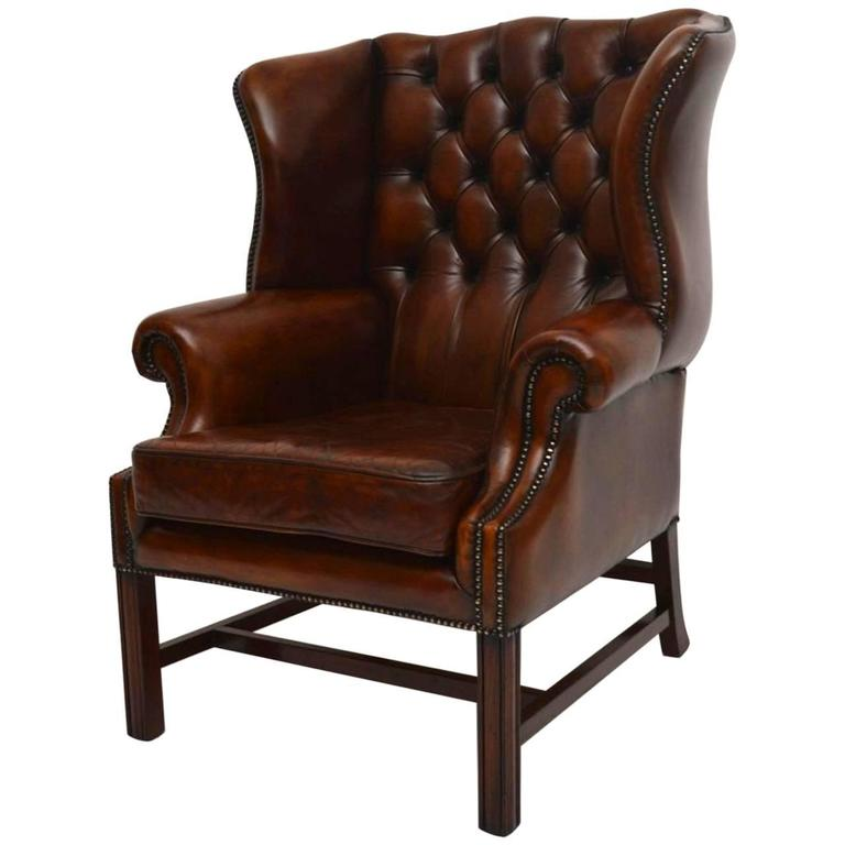 Antique Deep Buttoned Leather Wing Back Armchair At 1stdibs