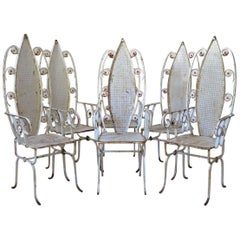 """Six High-Backed """"Daisy"""" Chairs, France, 1950s"""
