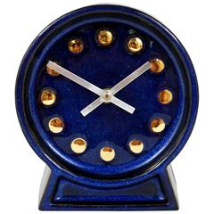 Gustavsberg Blue Enameled Table Clock by Britt-Lousie Sundell, 1970s, Sweden