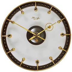 Outstanding Mid-Century Brass and Glass Wall Clock by Kienzle, Germany, 1950s