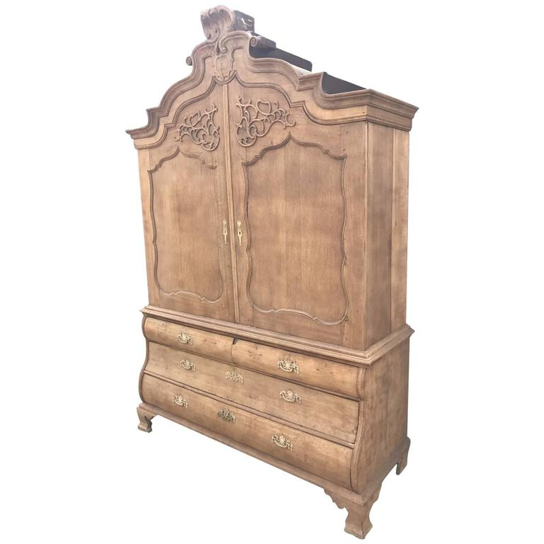 French Antique Oak Armoire or Linen Press