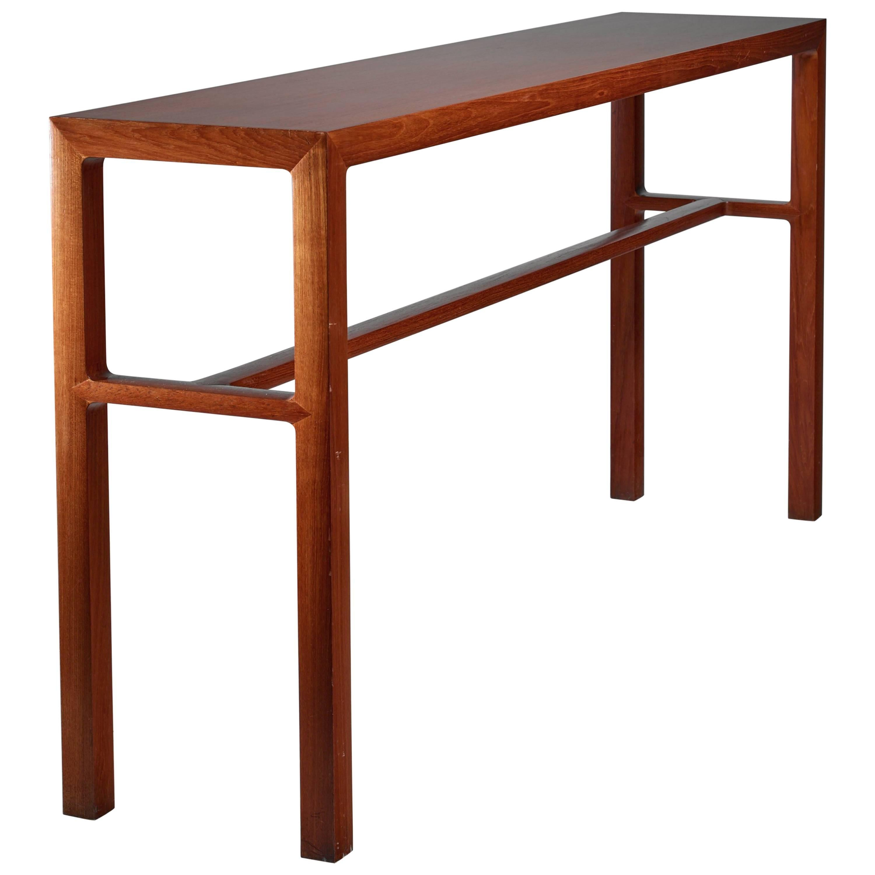 Scandinavian Long Wooden Console Table, 1960s For Sale