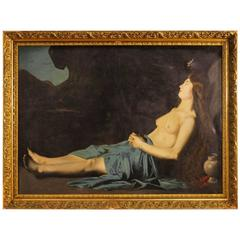 19th Century Religious Signed Painting Mary Magdalene