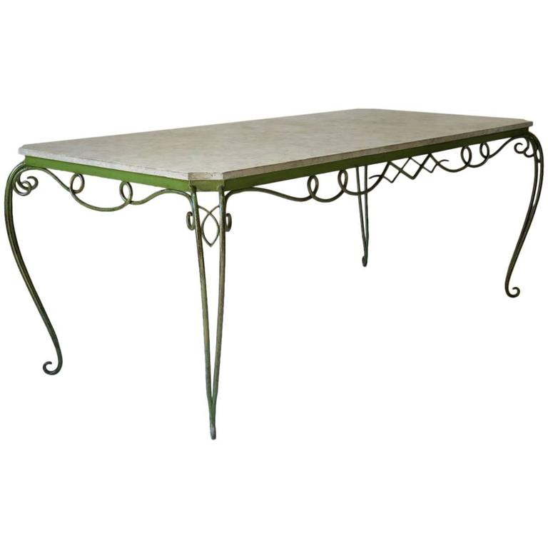 d5c230cb5757 Large Wrought Iron and Stone Table Attributed to René Prou