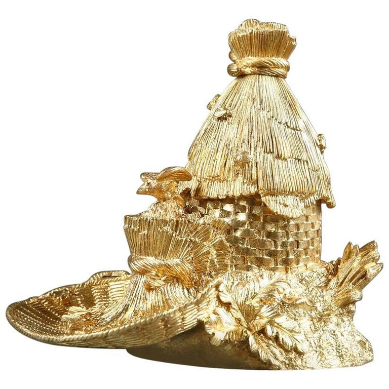 Early 19th Century Restauration Gilt Bronze Inkwell, Hive Design