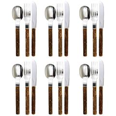 Amboss Austria Mid-Century Flatware Cutlery with Antler Handles for Six Persons