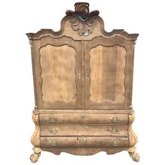 Solid Oak French Antique Armoire or Linen Press