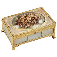 19th Century Charles X Gilt Bronze and Mother-of-Pearl Box with Flowers