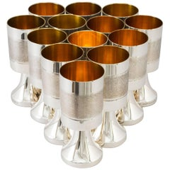 Sterling Silver and Gilded Champagne Cups, Sweden, 1970s