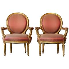 Pair of French Louis XVI Style Gilded Fauteuils