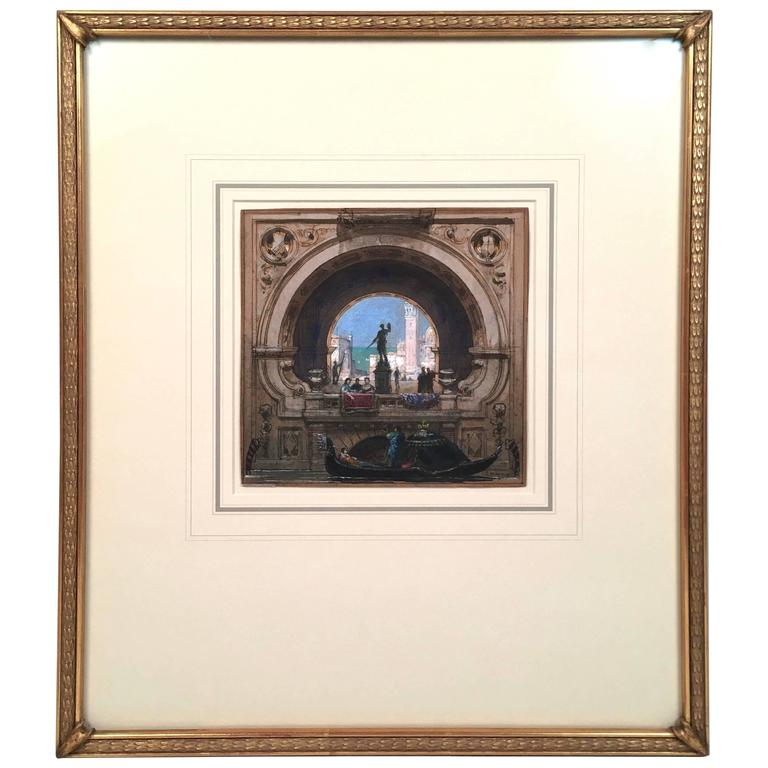Henri Mayeux Pastel Drawing of Venice For Sale