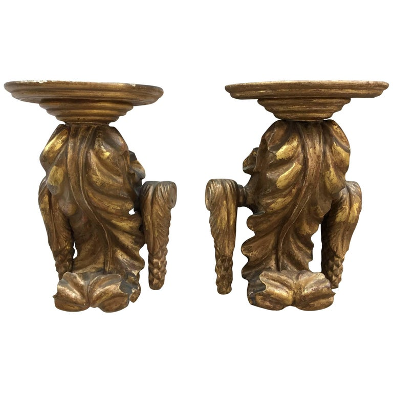 Pair of Gold Gilt Carved Wall Brackets from the Late 19th Century