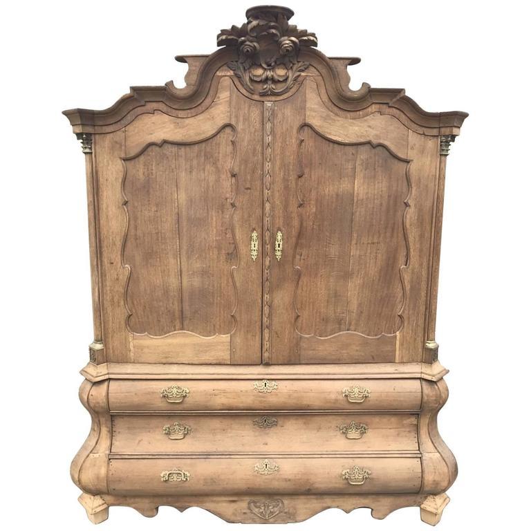 Elegant Antique Oak French Armoire Or Linen Press For Sale