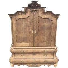 Antique Oak French Armoire or Linen Press