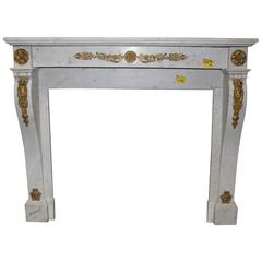 French, Louis XVI Style Marble Mantel with Bronze Mounts