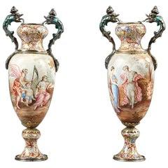 19th Century Pair of Small Vienna Enamel Vases, Austrian Work