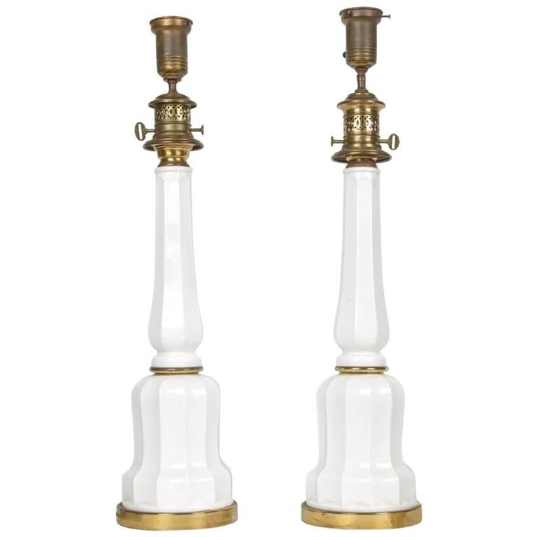 Pair of Opaline Glass Table Lamps 1