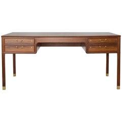 Ole Wanscher Freestanding Rosewood and Brass Desk, A. J. Iversen