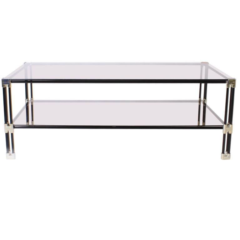 Silver Metal Glass Coffee Table: Silver Plated And Black Metal Coffee Table With Glass Tops
