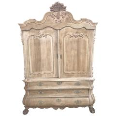 Antique French Solid Oak French Armoire or Linen Press