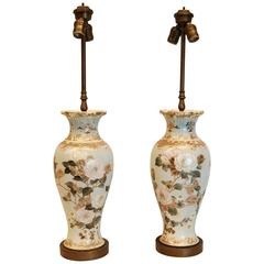 Pair of Floral and Gold Decorated Porcelain Vases Wired as Lamps, circa 1900