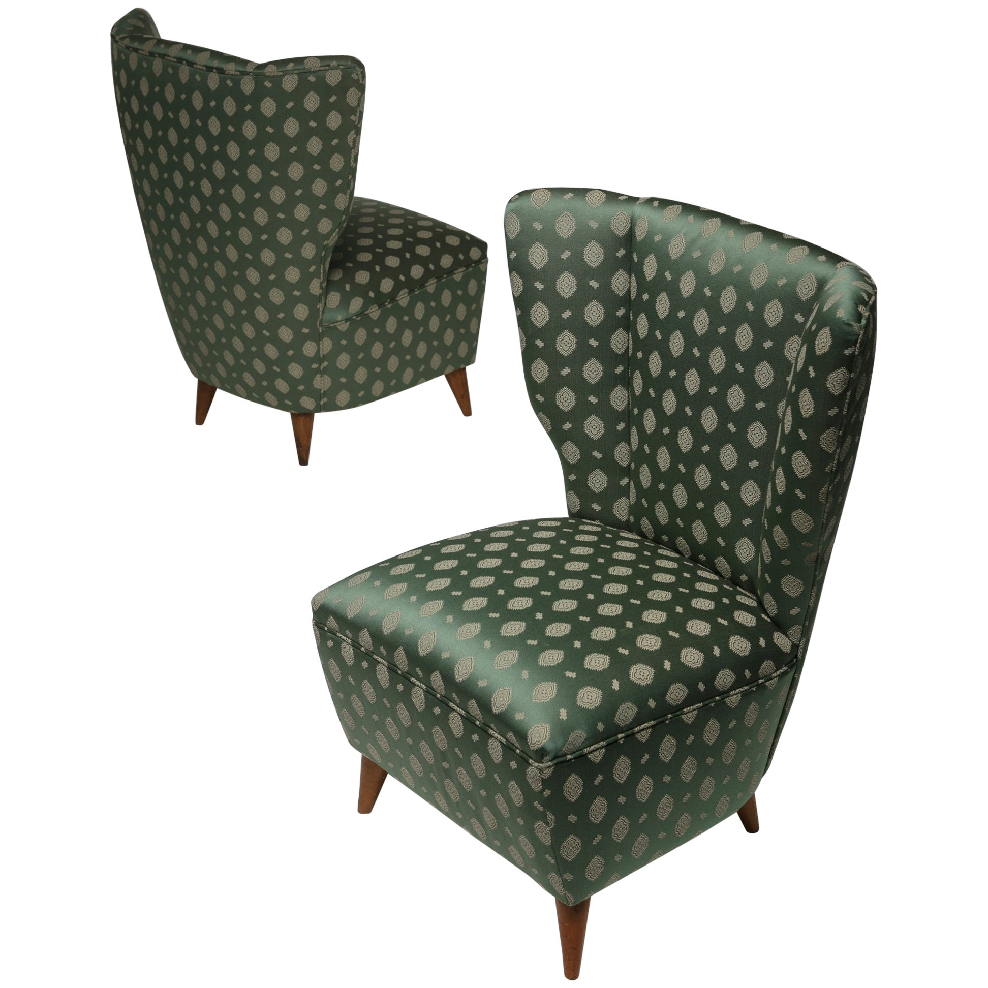 Pair of Italian, 1950s Slipper Chairs