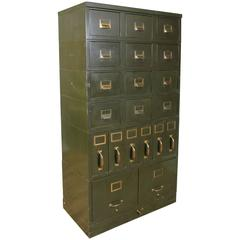 Antique Steel and Brass File Storage Cabinet