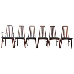 Niels Koefoed for Koefoeds Hornslet Eva Rosewood Dining Chairs, Set of Six