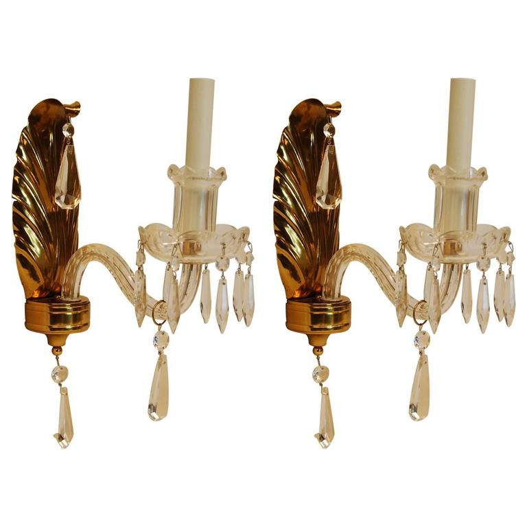 Pair of Single Arm Wall Sconces with Brass Feather Backplates and Crystal Arms